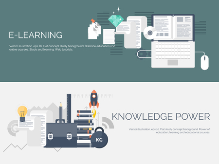 knowledge is power: Vector illustration. Flat study backgrounds set. Education and online courses, web tutorials, e-learning. Study ,creative process. Power of knowledge. Video tutorials. Illustration