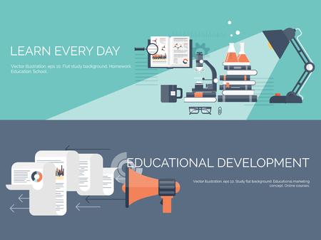 estudiando: Ilustraci�n del vector. Fondos de estudio global previsto. Educaci�n y cursos en l�nea, tutoriales web, e-learning. Estudio, proceso creativo. Poder del conocimiento. Tutoriales en v�deo. Vectores