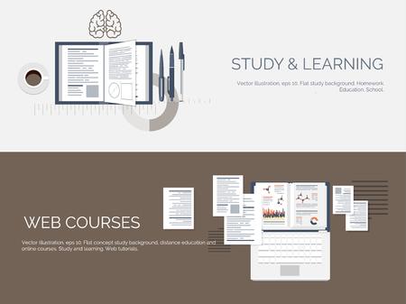 ESTUDIANDO: Ilustración del vector. Fondos de estudio global previsto. Educación y cursos en línea, tutoriales web, e-learning. Estudio, proceso creativo. Poder del conocimiento. Tutoriales en vídeo. Vectores