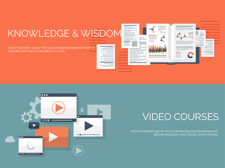 Vector illustration. Flat study backgrounds set. Education and online courses, web tutorials, e-learning. Study ,creative process. Power of knowledge. Video tutorials. Illustration