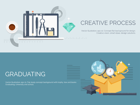cognitive: Vector illustration. Flat study backgrounds set. Education and online courses, web tutorials, e-learning. Study ,creative process. Power of knowledge. Video tutorials. Illustration
