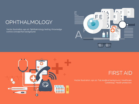 Vector illustration. Flat medical and chemical background. Research, experiment. Healthcare, first aid.