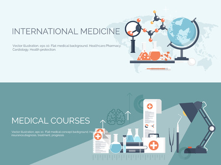medical drawing: Vector illustration. Flat medical and chemical background. Research, experiment. Healthcare, first aid.