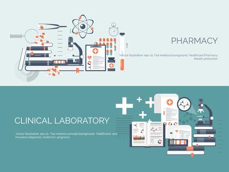 salud: Ilustración del vector. Antecedentes médicos y químicos plana. Investigación, experimentación. Salud, primeros auxilios.