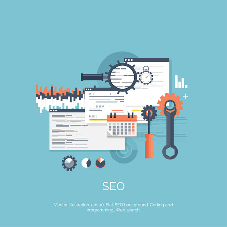 Vector illustration. SEO. Flat computing background. Programming and coding. Web development and search. Search engine optimization. Innovation, technologies. Mobile app.
