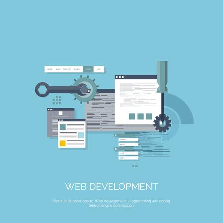 tecnología informatica: Ilustración del vector. Fondo computación plana. Programación, codificación. Desarrollo web y búsqueda. SEO. La innovación, las tecnologías. Mobile app. Desarrollo, optimización.