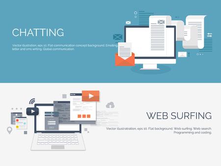 Computación plana. Programación, codificación. Desarrollo y búsqueda web. SEO. Innovación, tecnologías. Aplicación movil. Desarrollo, optimización. Ilustración de vector