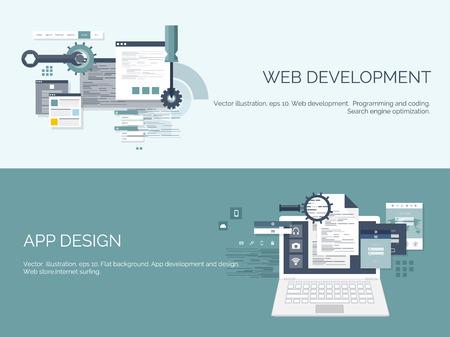 Vektor-Illustration. Wohnung Computing Hintergrund. Programmierung, Codierung. Web-Entwicklung und Suche. SEO. Innovation, Technologien. Mobile App. Entwicklung, Optimierung.