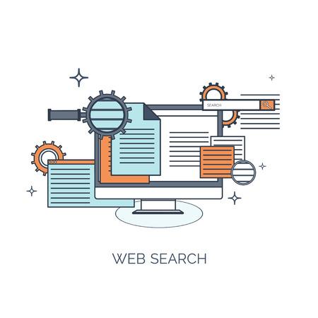Ilustración del vector. Fondo computación plana. Programación, codificación. Desarrollo web y búsqueda. SEO. La innovación, las tecnologías. Mobile app. Desarrollo, optimización. Foto de archivo - 38120279