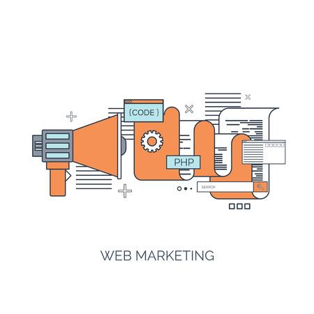 Ilustración del vector. Fondo computación plana. Programación, codificación. Desarrollo web y búsqueda. SEO. La innovación, las tecnologías. Mobile app. Desarrollo, optimización. Foto de archivo - 38120283