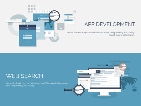 mobile application: Vector illustration. Flat computing background. Programming,coding. Web development and search. SEO. Innovation, technologies. Mobile app. Development, optimization.