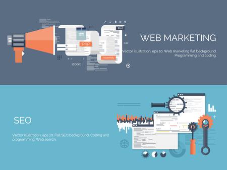 technology: Illustrazione vettoriale. Nozioni di informatica Flat. Programmazione, codifica. Sviluppo web e la ricerca. SEO. Innovazione, tecnologie. Mobile app. Sviluppo, ottimizzazione. Vettoriali
