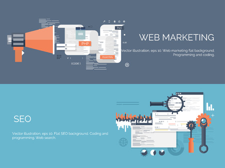 tecnologia: Ilustração do vetor. Fundo de computação Flat. Programação, codificação. Desenvolvimento web e pesquisa. SEO. Inovação, as tecnologias. App móvel. Desenvolvimento, otimização.