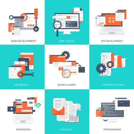 tecnologia: Illustrazione vettoriale. Nozioni di informatica Flat. Programmazione, codifica. Sviluppo web e la ricerca. SEO. Innovazione, tecnologie. Mobile app. Sviluppo, ottimizzazione. Vettoriali