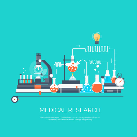 laboratory research: Vector illustration. Flat medical and chemical background. Medical research, experiment.