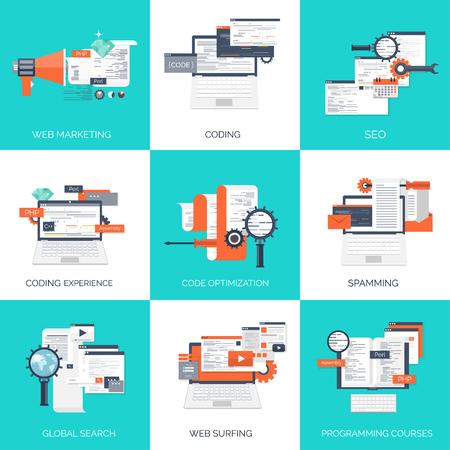 ベクトルの図。フラットのコンピューティングの背景。プログラミング、コーディングします。Web 開発、検索。SEO。革新性と技術。携帯アプリ開発