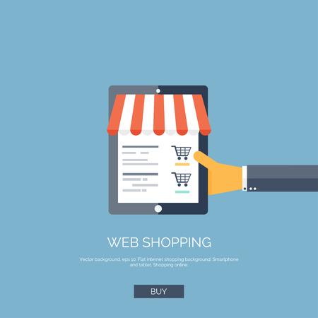 Vector illustratie. Platte achtergrond met hand en tablet. Online winkelen concept. Webwinkel. Stock Illustratie