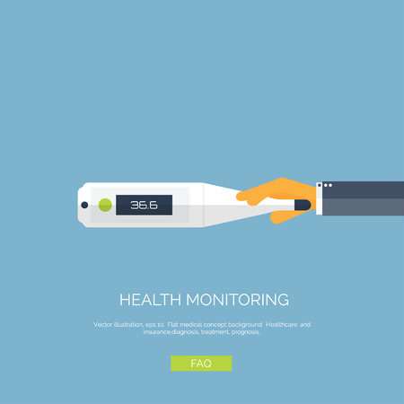 glass thermometer: Vector illustration. Flat background with hand and  medical thermometer. First aid and diagnostic. Illustration