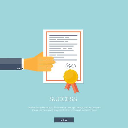 certificado: Ilustraci�n del vector. Fondo plano con la mano y los ganadores certivicate. Business Award.