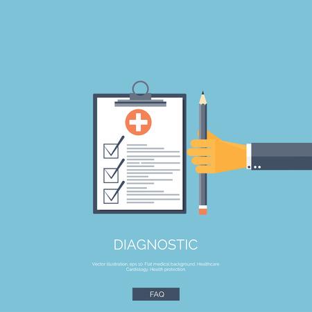 Vector illustratie. Flat achtergrond met hand en medisch rapport. Eerste hulp, diagnose.