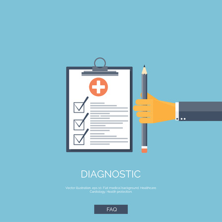 exam: Vector illustration. Flat background with hand and medical report. First aid, diagnostic. Illustration
