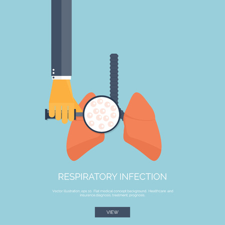 Vector illustration. Flat background with hand and lung. First aid, respiratory therapy. Illustration
