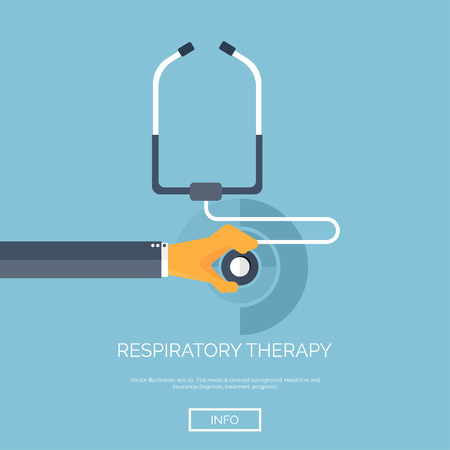 respiratory infection: Vector illustration. Flat background with hand and stethoscope. First aid, diagnostic. Respiratory infection.