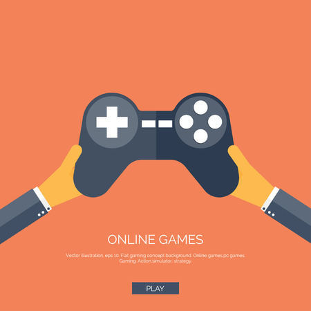 Vector illustration. Flat background with hand and joystick. Game online.