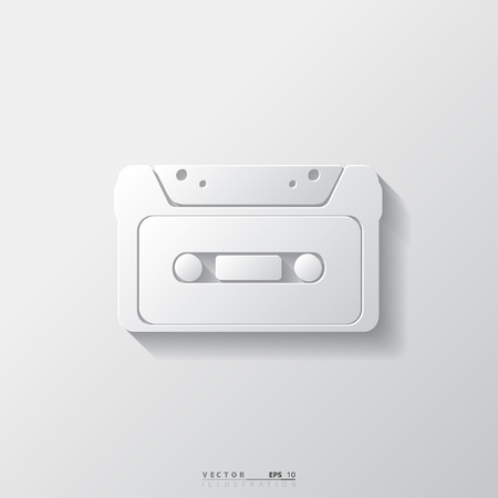 Compact Cassette icon, flat design, hipster style Vector