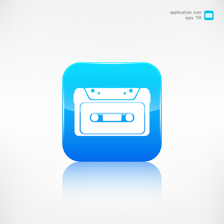 compact cassette: Compact Cassette icon, flat design, hipster style