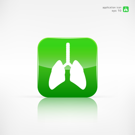 inhale: Human lung icon. Medical background. Health care Illustration