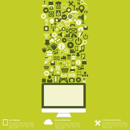 tecnolog�a informatica: Fondo abstracto plana con iconos de web. S�mbolos de la interfaz. La computaci�n en nube. Los dispositivos m�viles.