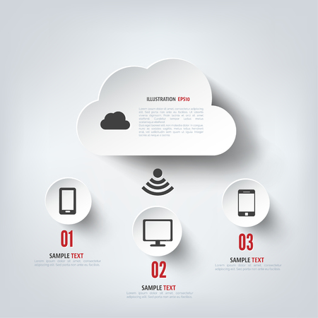 media technology: Cloud computing background with web icons. Social network. Mobile app.