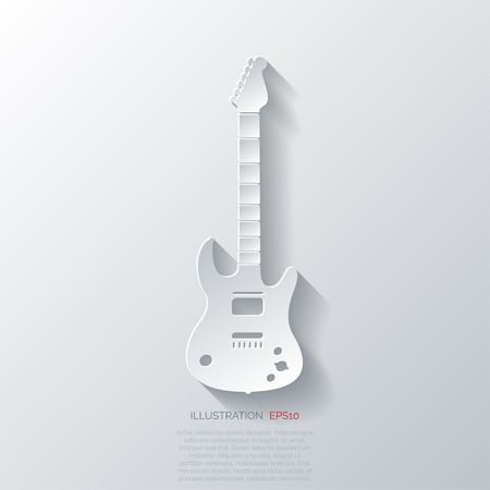 Guitar icon. Music background Çizim