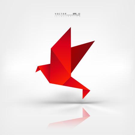 Origami Papier-Vogel auf abstrakten Hintergrund Standard-Bild - 38106584