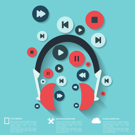 Abstract musical background with flat web icons. Illustration
