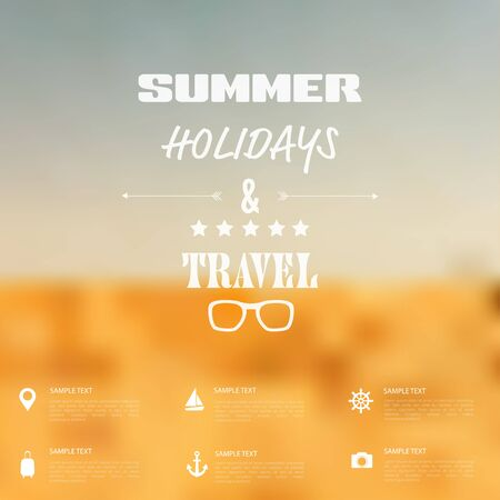 Summer abstract blurred,defocused background with travel label. Vector
