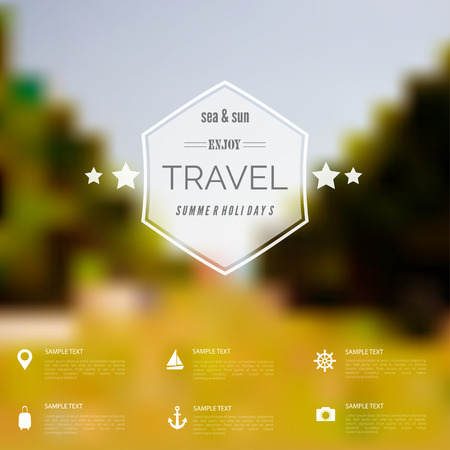 unfocused: Summer abstract blurred,defocused background with travel label.