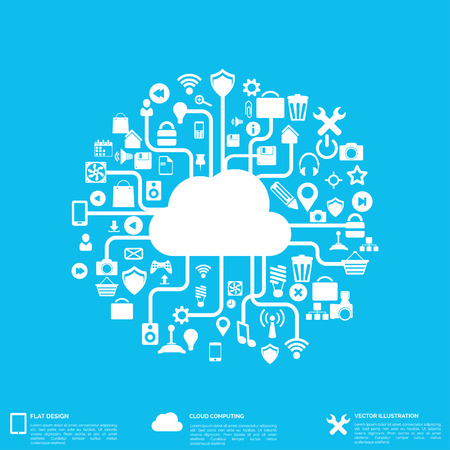 cloud: Flat abstract background with web icons. Interface symbols. Cloud computing. Mobile devices.