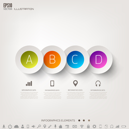 Cloud computing background with web icons. Social network. Mobile app. Infographic elements. Illustration