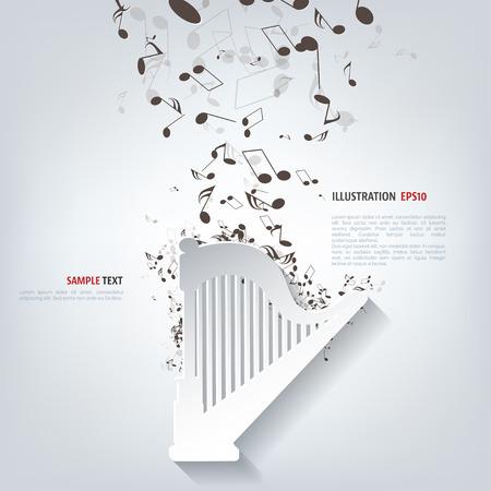 Harp icon. Music instruments Illustration