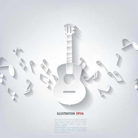 Guitar icon. Music background Illustration