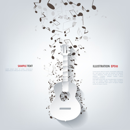 jazz band: Guitar icon. Music background Illustration