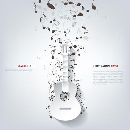 guitarra acustica: Icono de la guitarra. Fondo de la música