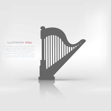 lyra: Harp icon. Msic instruments