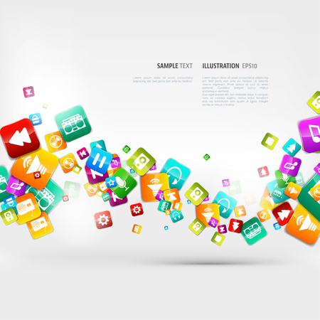 app: Abstract music background with notes and app icons