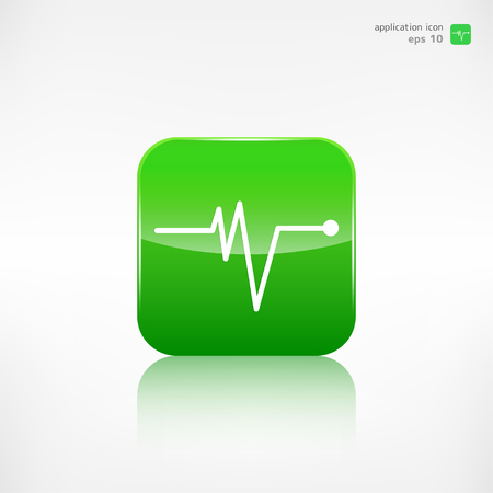 batida de cora��o: Heart beat, cardiogramm. Pulse icon