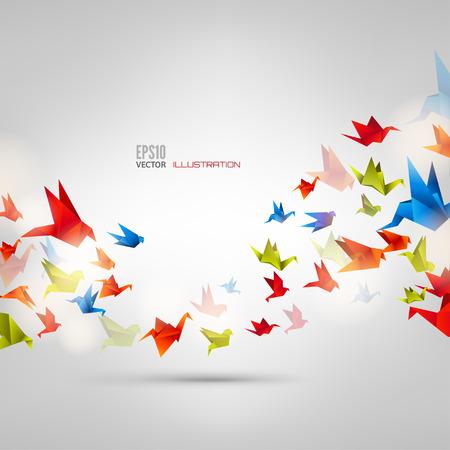 paloma caricatura: Origami pájaro de papel en el fondo abstracto
