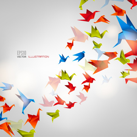 creative: Origami paper bird on abstract background