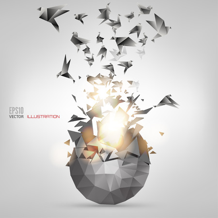 poligonos: Origami p�jaro de papel en el fondo abstracto